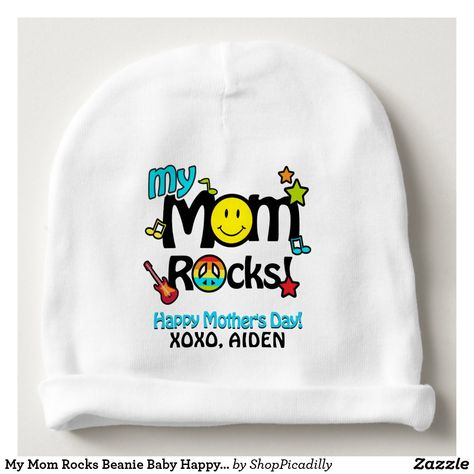 2031fbc6ddf My Mom Rocks Beanie Baby Happy Mother s Day Hat mothers day crafts for  kids