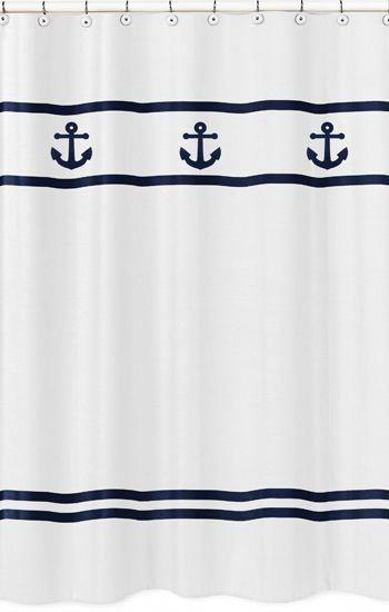 Navy And White Anchors Away Nautical Bathroom Fabric Bath Shower