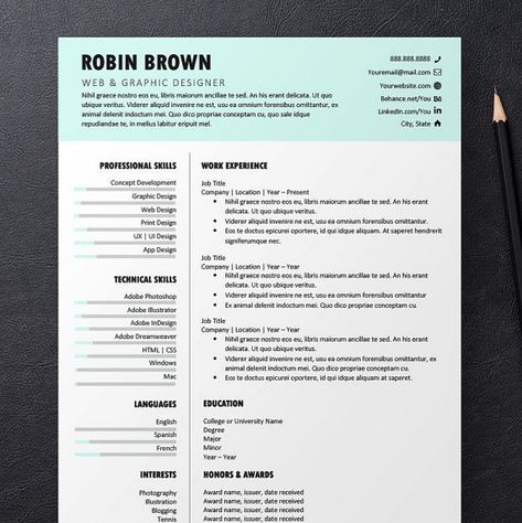 INSTANT DOWNLOAD Printable resume, cover letter and references - whats a cover letter