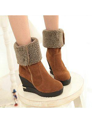 Fashion thick velvet high heel snow