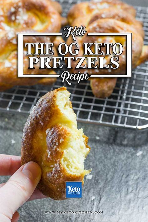 Keto Soft Pretzels. This gluten-free pretzel recipe is the original low carb snack - invented by My Keto Kitchen in 2012 for an Oktoberfest event. They are soft and bready with a delicious yeasty aroma. Enjoy them as a snack, side dish or appetizer. #ketorecipes #ketopretzels #pretzels #glutenfreerecipes #BestKetoBread