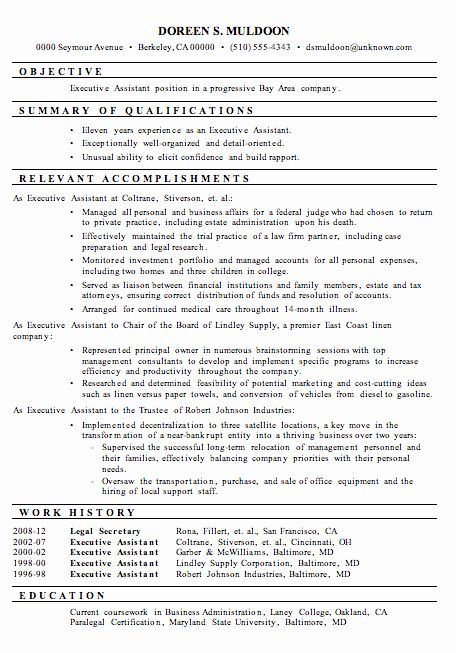Sample Resume Legal Administrative Assistant Elegant Resume Sample Executive A In 2020 Resume Summary Examples Medical Assistant Resume Administrative Assistant Resume