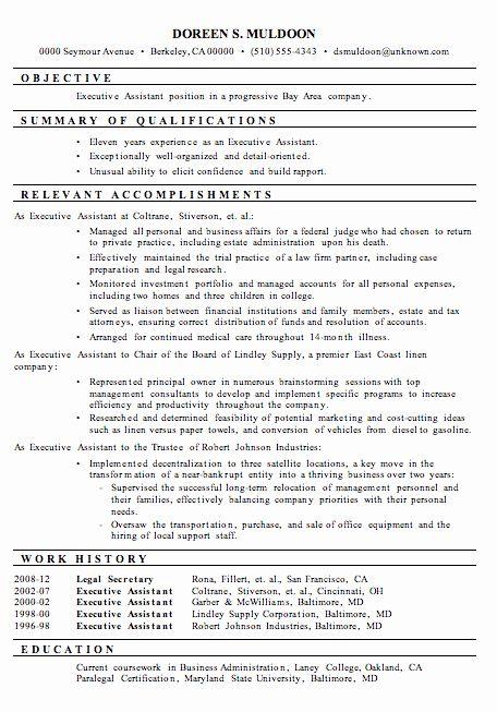 Sample Resume Legal Administrative Assistant Elegant Resume Sample Executive Assistant Job Resume Samples Resume Summary Examples Medical Assistant Resume