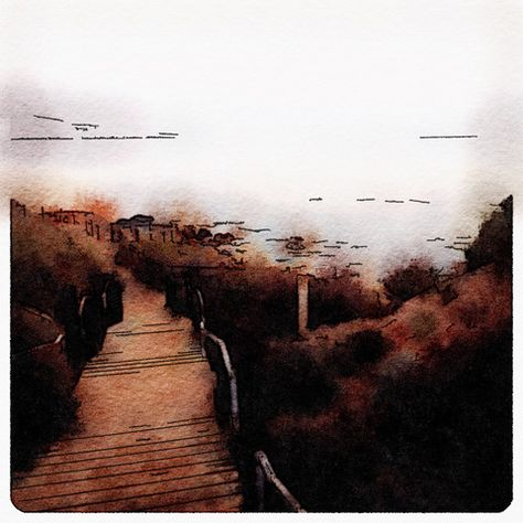 Rancho Palos Verdes Path Digital Watercolor - Canvas Wall Art - (16 x 20) – Rodney Washington | Art Photography - $104 - http://rodneywashingtonartphotography.com/