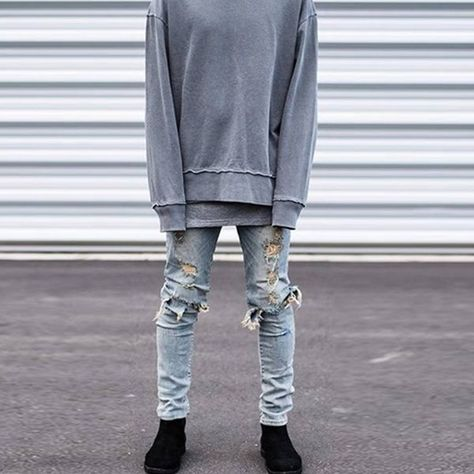 Photo of New Men Jeans Slim Fit Hole Biker Jeans Ripped Distressed Hip Hop Style Denim Pants | Wish