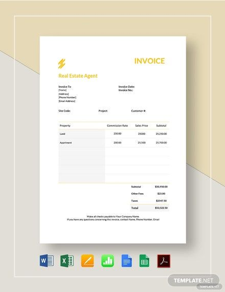 Real Estate Agent Invoice Template Free Pdf Word Excel Apple Pages Google Docs Google Sheets Apple Numbers Business Plan Template Pdf Business Plan Template Invoice Design Template