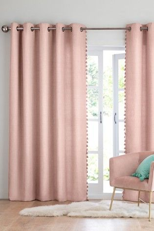 Pink Eyelet Curtains