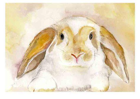Watercolor Painting Art Print-Little Rabbit via Etsy