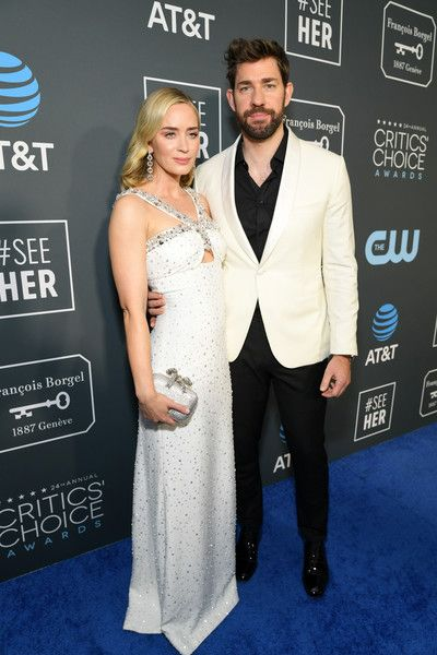 Emily Blunt (L) and John Krasinski attend the 24th annual Critics' Choice Awards at Barker Hangar.