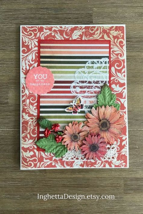 This Bright And Happy Red Scrapbook Card Is Good Choice For Valentines Day Or As Romantic Birthday Your Boyfriend