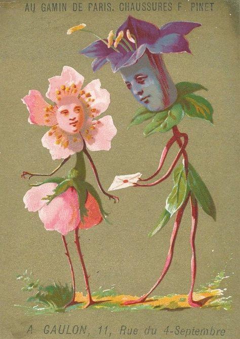 Very rare Anthropomorphic trade cards Flower people veggie card Kunst Inspo, Art Inspo, Art And Illustration, Vintage Design, Vintage Art, Arte Hippy, Hippie Art, Art Graphique, Weird Art