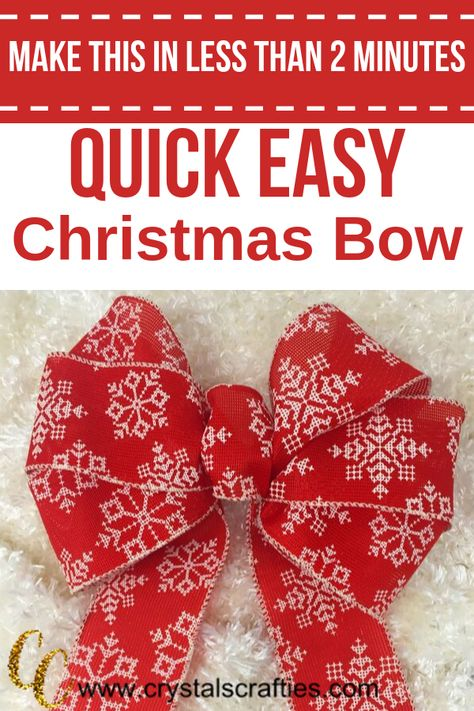 Quick Easy Christmas Bow This Easy Christmas Bow only takes about 2 minutes to make and is super duper simple. All you need is wire edged ribbon and a zip tie (or twist tie if you Diy Bow, Diy Ribbon, Ribbon Bows, Ribbon Flower, Ribbon Hair, Fabric Flowers, Hair Bows, Ribbon Crafts, Tying Bows With Ribbon