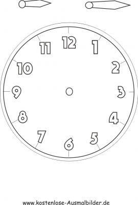 Uhr Vorlage Zum Basteln Uhr Lernen Kinder Uhrzeit