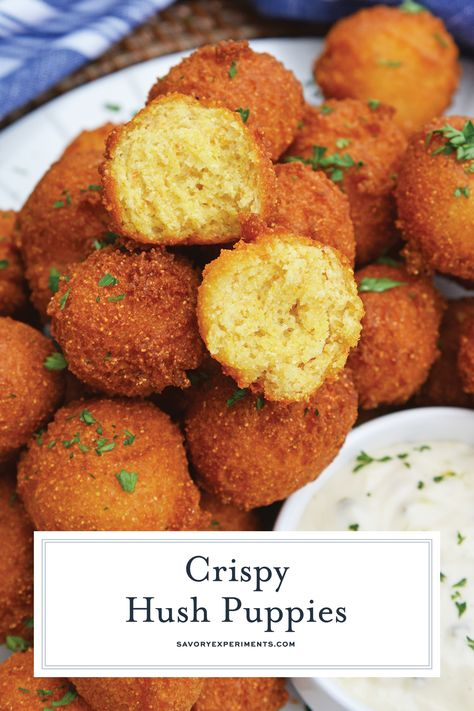 Hush Puppies Are Gently Fried Cornbread With A Crunchy Outside And Soft Doughy Inside Serve With Fish Fried Cornbread Hush Puppies Recipe Breaded Fish Recipe