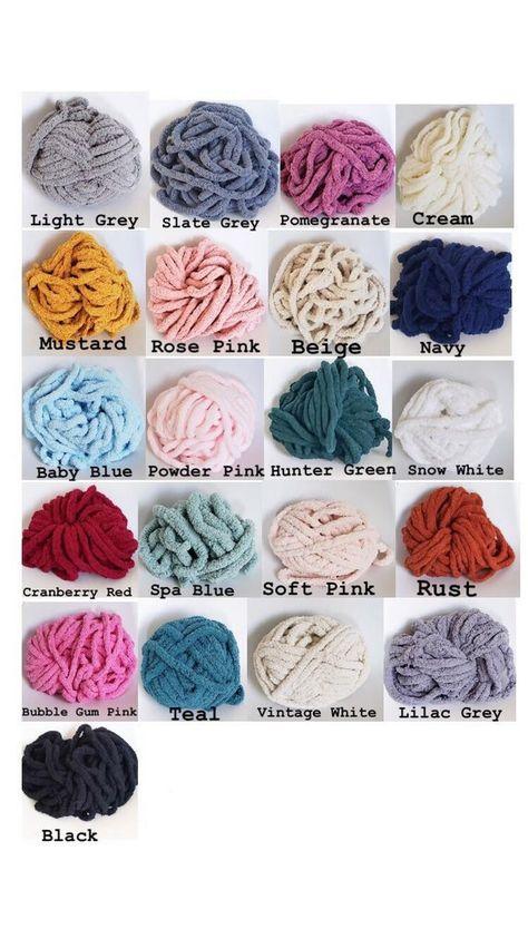 Hand Knit Chunky Chenille Yarn Blanket Throw 50x60