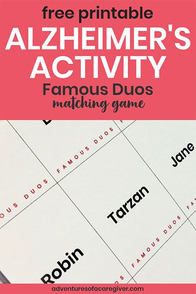 photo relating to Free Printable Activities for Dementia Patients titled Popular Duos No cost Printable - Alzheimers and Dementia