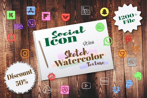 Sketch Watercolor Social Icons by Maxcompose