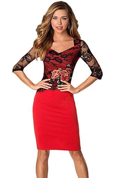 Toskana Braut Damen Elegant 3 4 Arm Etui Stickerei Sommer Kleid Spitzen Wickelkleid Abendlkleid Sommer Hosen Trends So Sommer Kleider Kleider Cocktailkleid