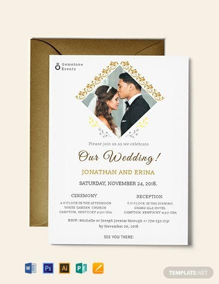 Photo Wedding Invitation Template Word Doc Psd Apple Mac Pages Google Docs Illustrator Publisher Outlook Marriage Invitation Card Wedding Invitation Wording Templates Photo Wedding Invitations