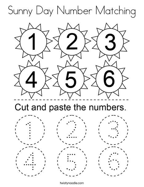 Sunny Day Number Matching Coloring Page Twisty Noodle Kids Learning Numbers Kids Math Worksheets Numbers Preschool