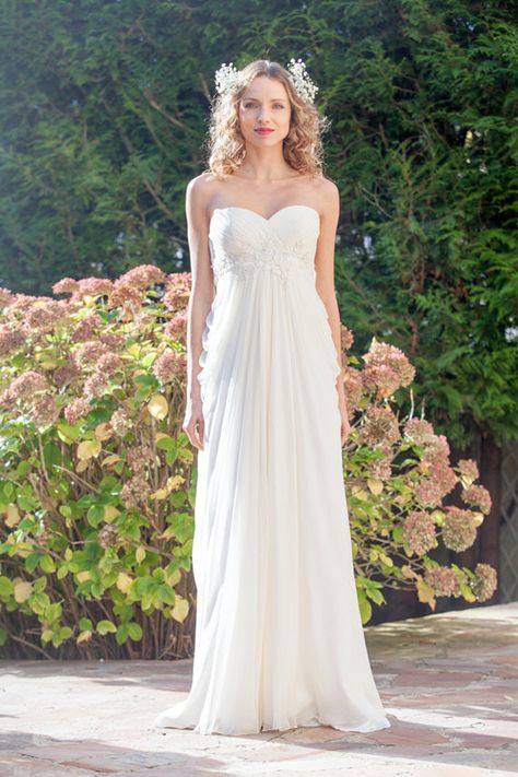 bfd9e4b3cee8 EMMANUELLE    Boho wedding dress  Chiffon bohemian wedding dress  with train   strapless