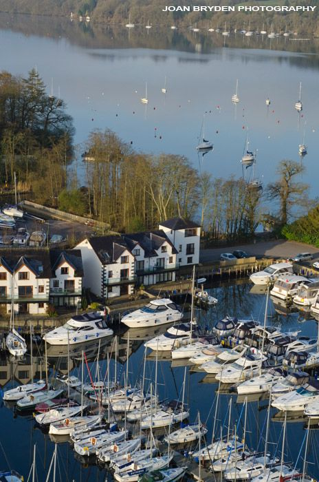 Windermere Marina Village in the Lake District National Park, Cumbria, England. Aerial view