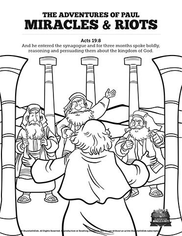 Acts 19 Miracles Riots Sunday School Coloring Pages Coloring
