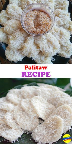 Making Palitaw is very simple. The ingredients are glutinous rice flour and water. The amount of water should just be right to form pliable dough that is not too dry or not too runny. Adding more glut Filipino Dishes, Filipino Desserts, Asian Desserts, Filipino Food, Easy Filipino Recipes, Palitaw Recipe, Ensaymada Recipe, Rice Flour Recipes, Rice Cake Recipes