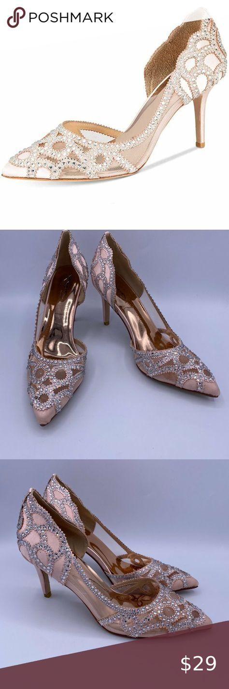 XYD Women Pointy Toe Crystal Studded Bridal Pumps High Heel Slip On DOrsay Mesh Rhinestone Wedding Dress Shoes