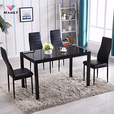 Glass Metal 5 Piece Dining Table Set 4 Chairs Kitchen Room Breakfast Furniture