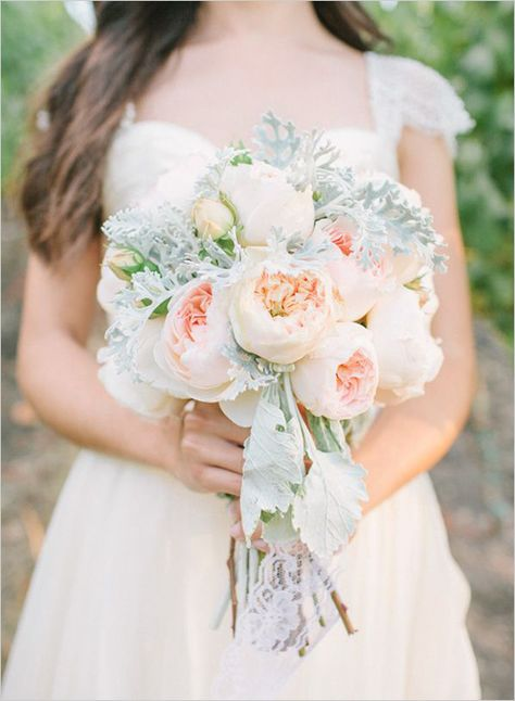 This soft blush and peach bouquet is oh so adorable!