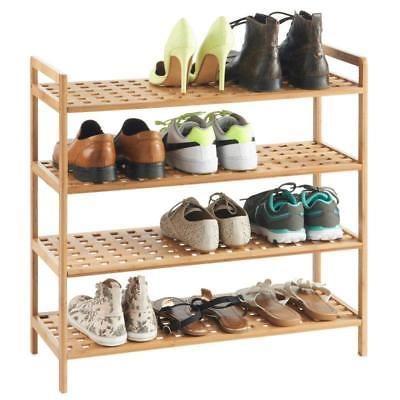 4 Tier Natural Wooden Shelf Shoes Bamboo Rack Storage Organiser Stand Hallway Uk Wooden Shoe Racks Bamboo Shoe Rack Shoe Rack