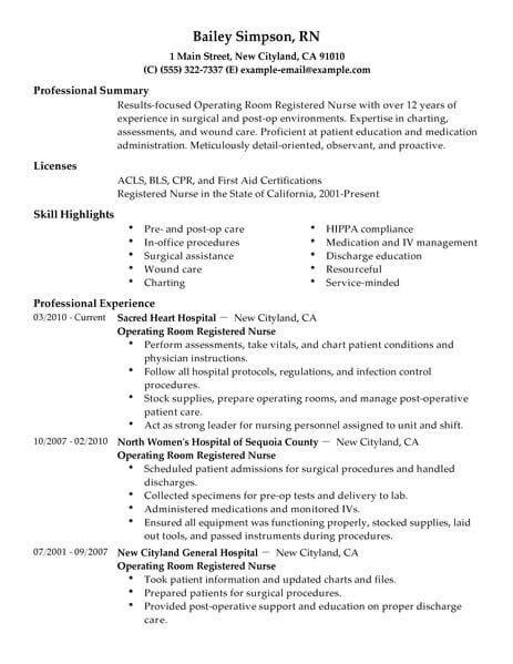 Best Operating Room Registered Nurse Resume Example Livecareer Registered Nurse Resume Nursing Resume Resume Objective Examples