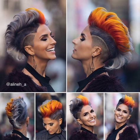 30 Shaved Sides Haircut Female Ideas in 2019 - Love this Hair Shaved Side Haircut, Half Shaved Hair, Shaved Hair Women, Short Hair Shaved Sides, Shaved Pixie, Shaved Side Hairstyles, Mowhawk Hairstyles, Cool Hairstyles, Mohawk Hairstyles For Women