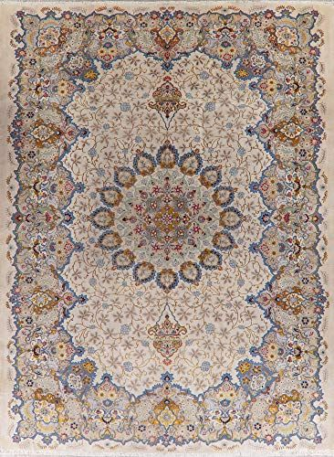 Vintage Ivory Kashan Persian Wool Area Rug Oriental Handmade Large Dining Room Carpet 11x14 10 9 X In 2020 Wool Area Rugs Persian Area Rugs Distressed Persian Rug