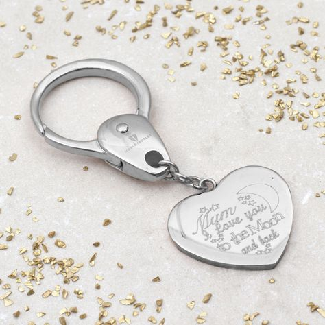 Personalised Moon And Back Love Heart Keyring