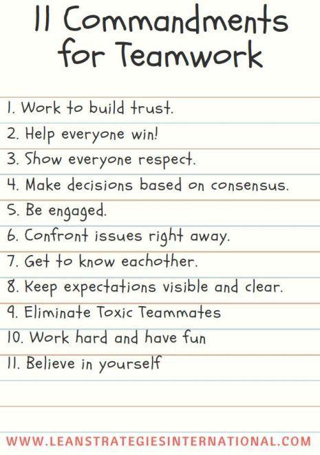 11 Commandments For Teamwork
