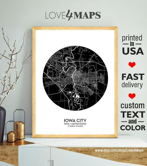 Iowa City Map Print Iowa City City Iowa Poster University Of