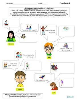 Los Pasatiempos Information Gap Activities Puzzles With Images