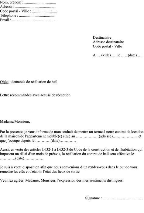 Modele lettre de résiliation de bail resiliation de bail Pinterest - Lettre De Resiliation De Bail Meuble