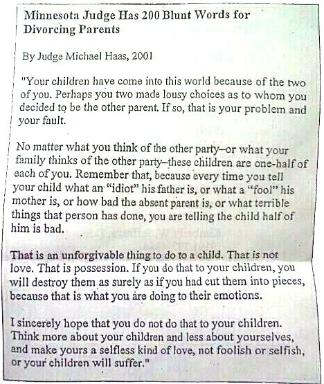 Great LetterAdvice From Judge For DivorcedDivorcing Parents
