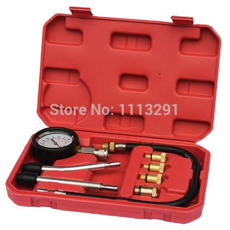 8 Pc Spark Plug Cylinder Compression Tester Test Kit Professional Gas Engine NEW