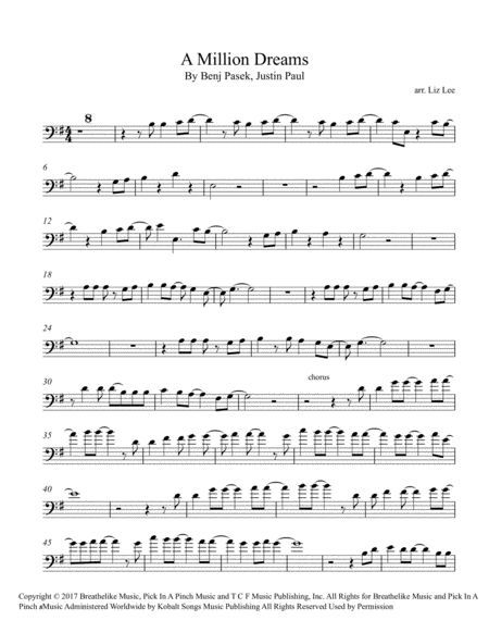 Download A Million Dreams Cello Sheet Music By Liz Lee Cellomoji Sheet Music Plus Cello Sheet Music Sheet Music Flute Sheet Music