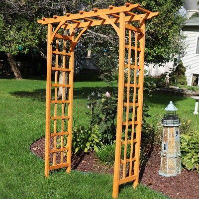 78 Outdoor Wooden Garden Arbor Sunnydaze Decor Brown Wooden