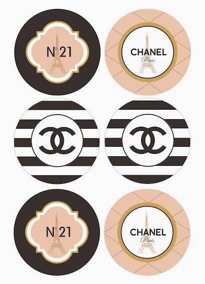 Chanel: Toppers, Etiquetas o Stickers para Imprimir Gratis.