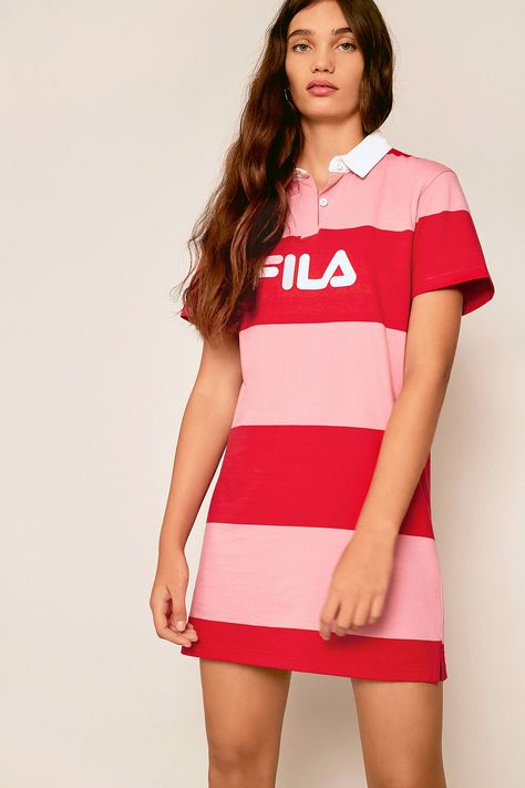 famous brand quality products promo code FILA Sylvia Pink Rugby Striped Shirt Dress   T-Shirt Dress ...