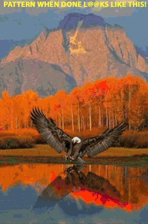 Autum Eagle Cross Stitch PatternLOOK INSTANT image 3