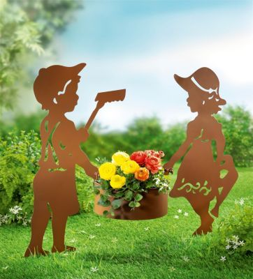 Gartenstecker Mit Pflanztopf 3 Teiliges Set Weltbild At Stahl Kunst Gartenstecker Pflanzen