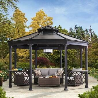 18 Ft W X 12 Ft D Solid Wood Patio Gazebo Backyard Gazebo Garden Gazebo Patio Gazebo