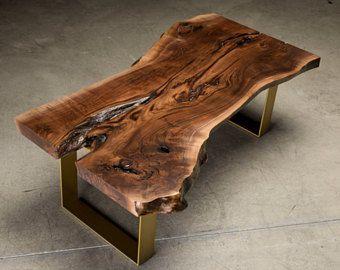 Live Edge Coffee Table Fremont Table Walnut Slab Coffee Table Mesa De Centro Madera Muebles De Metal Mesas De Parota